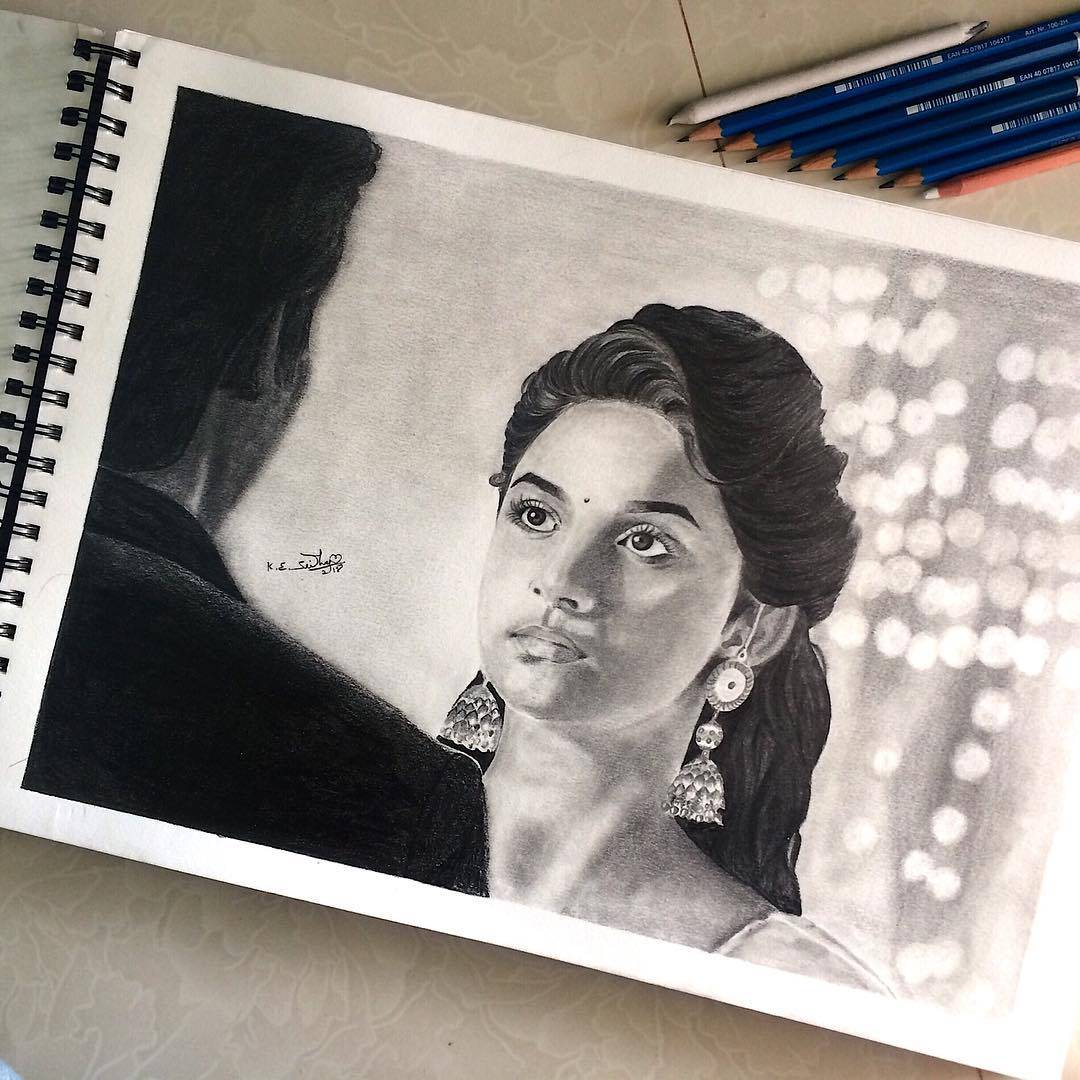 Keerthy Suresh's Pencil Sketch